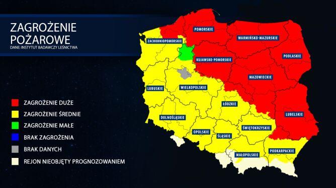 Mapa zagrożenia pożarowego z 4 kwietnia z godziny 9 (tvnmeteo.pl za IBL)