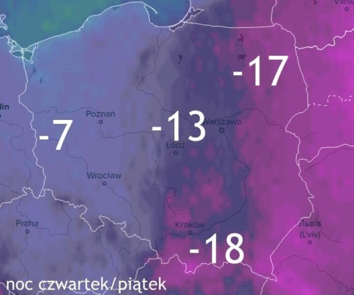 Prognoza temperatury na noc czwartek/piątek