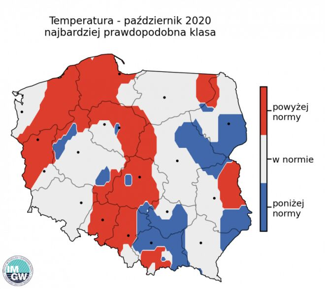 Najbardziej prawdopodobna klasa średniej temperatury powietrza w październiku 2020 r. według modelu IMGW-Bayes (źródło: IMGW)