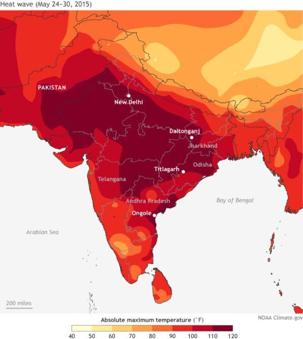 Abolutne maksimum temperatury powietrza w Indiach od 24 do 30 maja