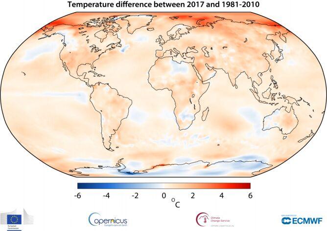 Różnica temperatur między rokiem 2017 a okresem 1981-2010